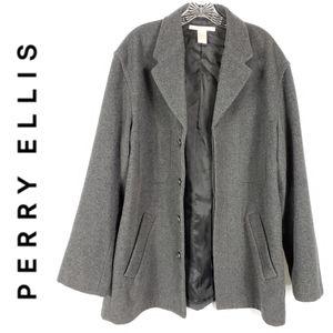 Perry Ellis Wool Blend Peacoat